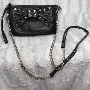 Betsey Johnson Studded Bow Crossbody Chain Purse